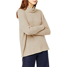 Buy Warehouse Boxy Cowl Neck Ribbed Jumper, Beige Online at johnlewis.com
