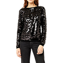 Buy Warehouse Sequin Disc Jumper, Black Online at johnlewis.com
