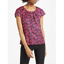 Buy Boden Ravello Silk Blend Printed Top, Midnight Garden/Poppy Online at johnlewis.com