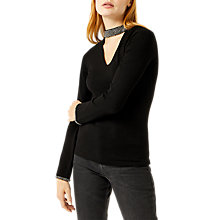 Buy Warehouse Embellished Choker Jumper, Black Online at johnlewis.com
