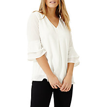 Buy Studio 8 Kelly Fluted Sleeve Top, Ivory Online at johnlewis.com