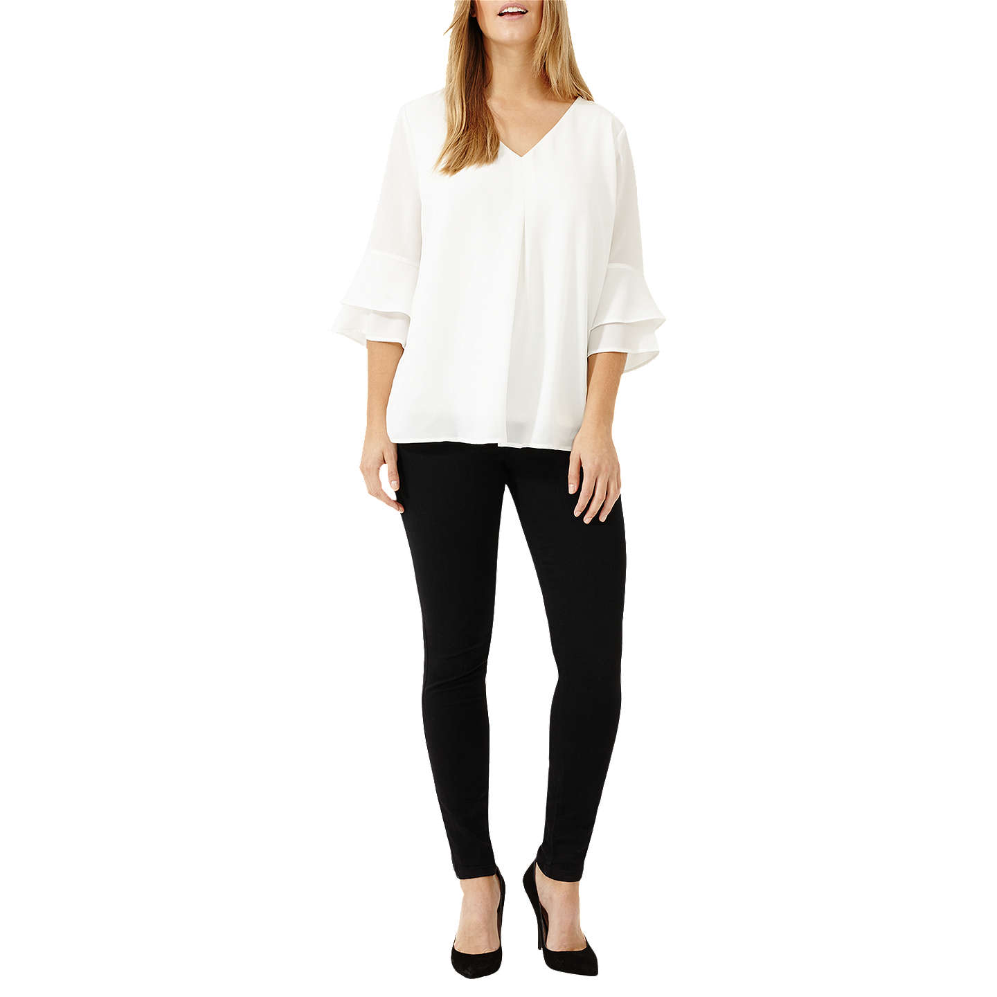 BuyStudio 8 Kelly Fluted Sleeve Top, Ivory, 12 Online at johnlewis.com