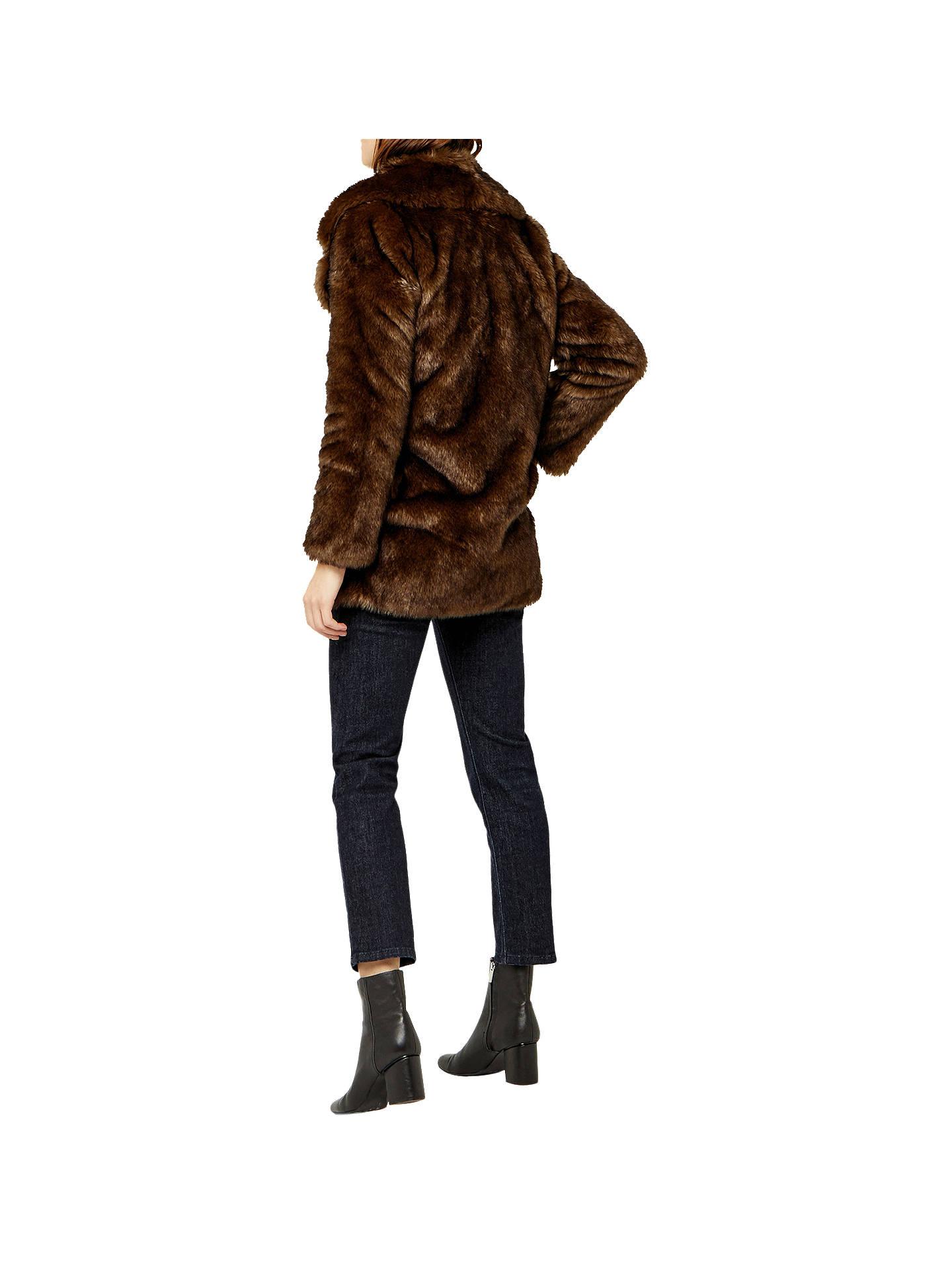 Warehouse Faux Fur Coat, Brown at John Lewis & Partners