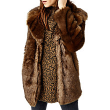 Buy Warehouse Faux Fur Coat, Brown Online at johnlewis.com