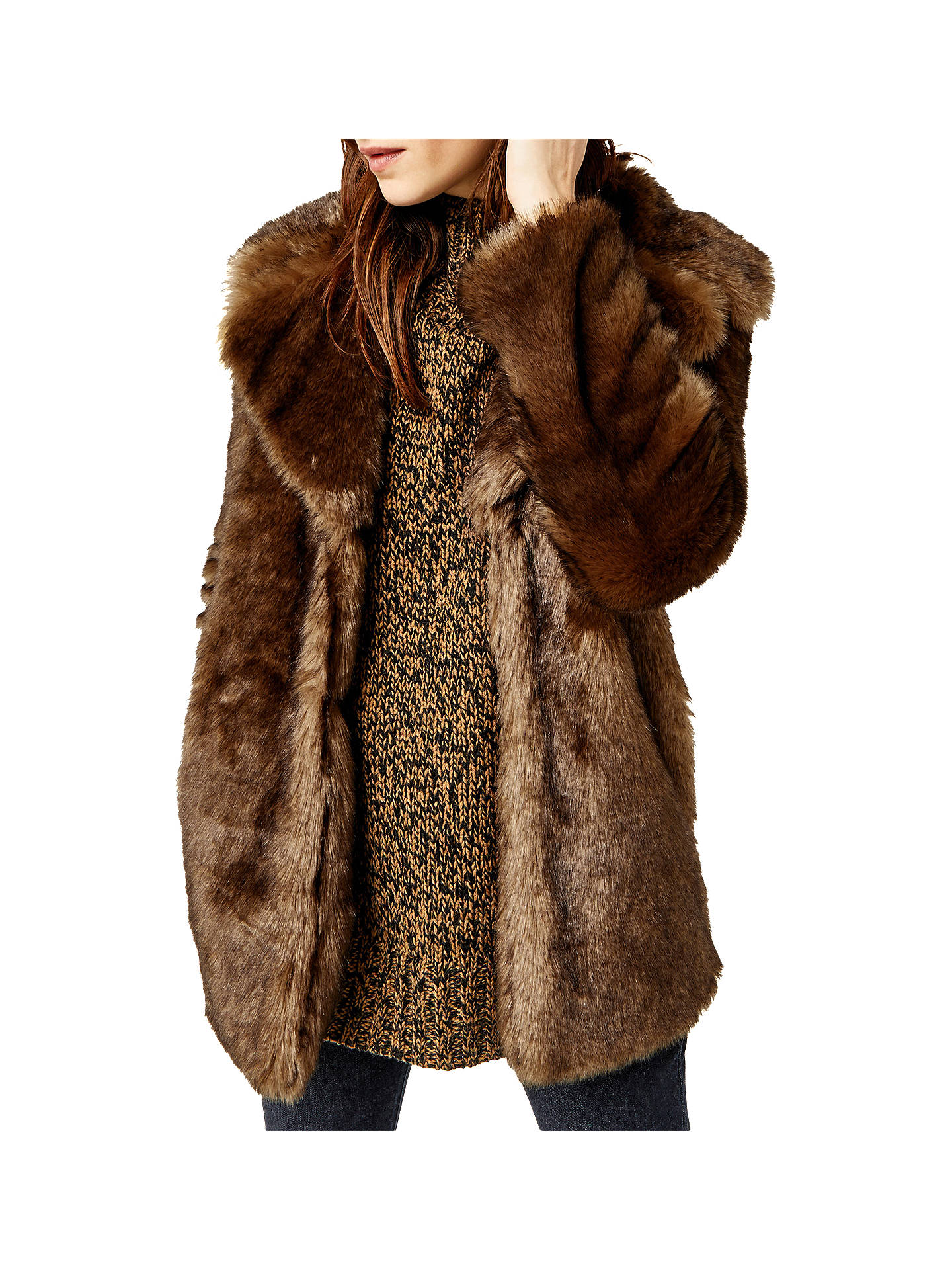 BuyWarehouse Faux Fur Coat fce8b28f792