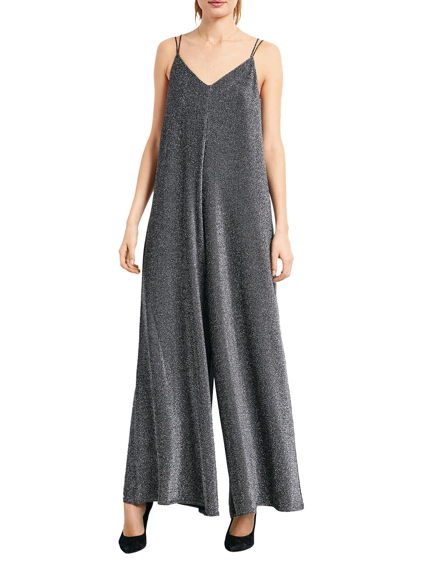 new york reliable quality purchase cheap hush Sparkle Glitter Jumpsuit, Black/Silver at John Lewis ...