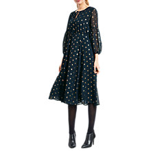 Buy hush Freesia Midi Dress, Midnight/Gold Online at johnlewis.com
