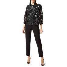 Buy Warehouse Star Sparkle Pattern Blouse, Black Online at johnlewis.com