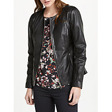 Buy Oui Leather Jacket, Black Online at johnlewis.com