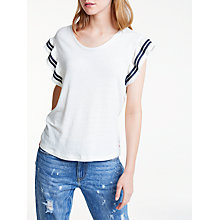Buy Maison Scotch Ruffle Sleeve Top, White Online at johnlewis.com