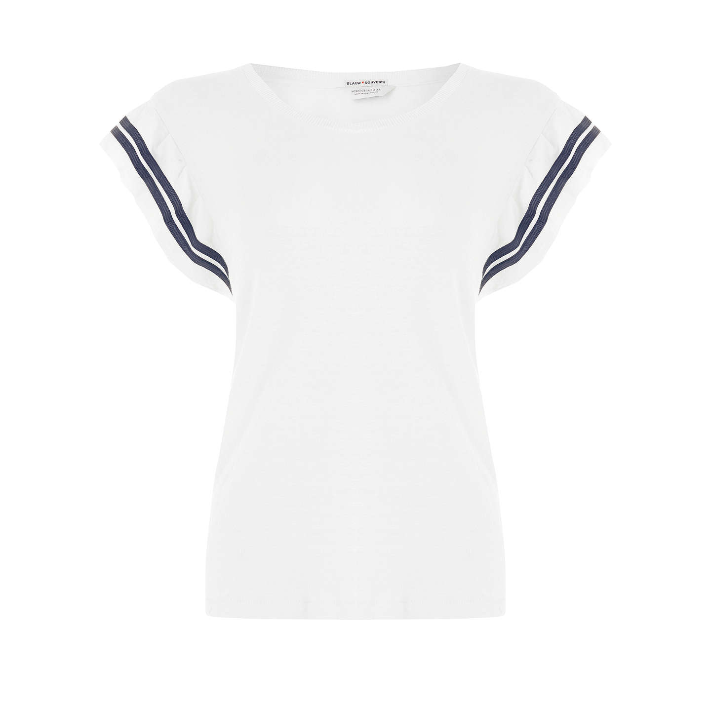 BuyMaison Scotch Ruffle Sleeve Top, White, XS Online at johnlewis.com