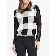 Buy Oui Mesh Check Sweater, Black Online at johnlewis.com