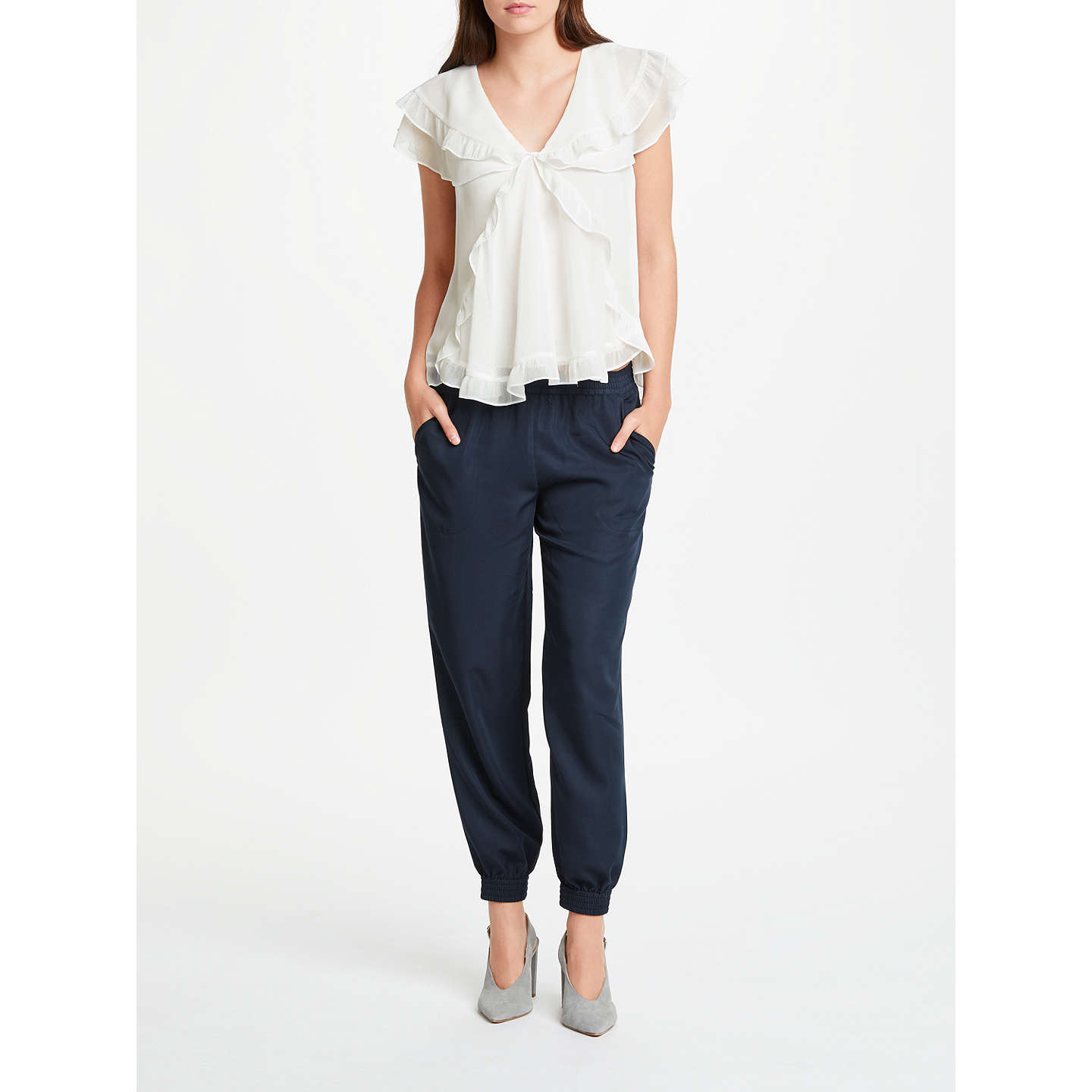 BuyMax Studio Frill Detail Blouse, White, XS Online at johnlewis.com