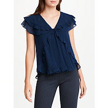 Buy Max Studio Short Sleeve Frill Blouse, Ocean Blue Online at johnlewis.com