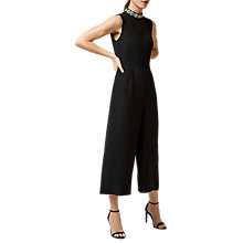 Buy Warehouse Embellished Neck Wide Leg Jumpsuit, Black Online at johnlewis.com