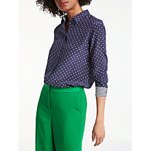 Buy Boden The Silk Shirt, Navy/Spot Online at johnlewis.com