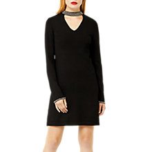 Buy Warehouse Embellished Choker Neck Dress, Black Online at johnlewis.com