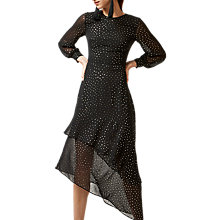 Buy Warehouse Abstract Glitter Pattern Asymmetrical Midi Dress, Black/Gold Online at johnlewis.com