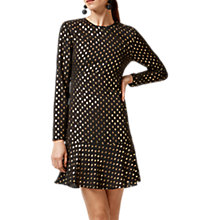 Buy Warehouse Metallic Spot Pattern Ruffle Hem Dress, Black/Gold Online at johnlewis.com