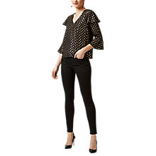 Buy Warehouse Metallic Spot Pattern Ruffle Sleeve Blouse, Black/Gold Online at johnlewis.com