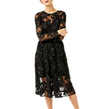 Buy Warehouse 3D Embroidered Mesh Dress, Black Online at johnlewis.com