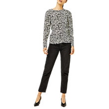 Buy Warehouse Zebra Print Puff Sleeve Top, Zebra Online at johnlewis.com