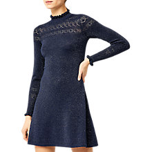 Buy Warehouse Sparkle Pointelle Dress, Navy Online at johnlewis.com