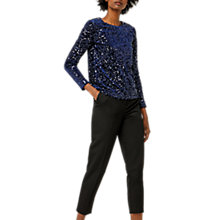 Buy Warehouse Sequin Velvet Long Sleeve Top, Navy Online at johnlewis.com