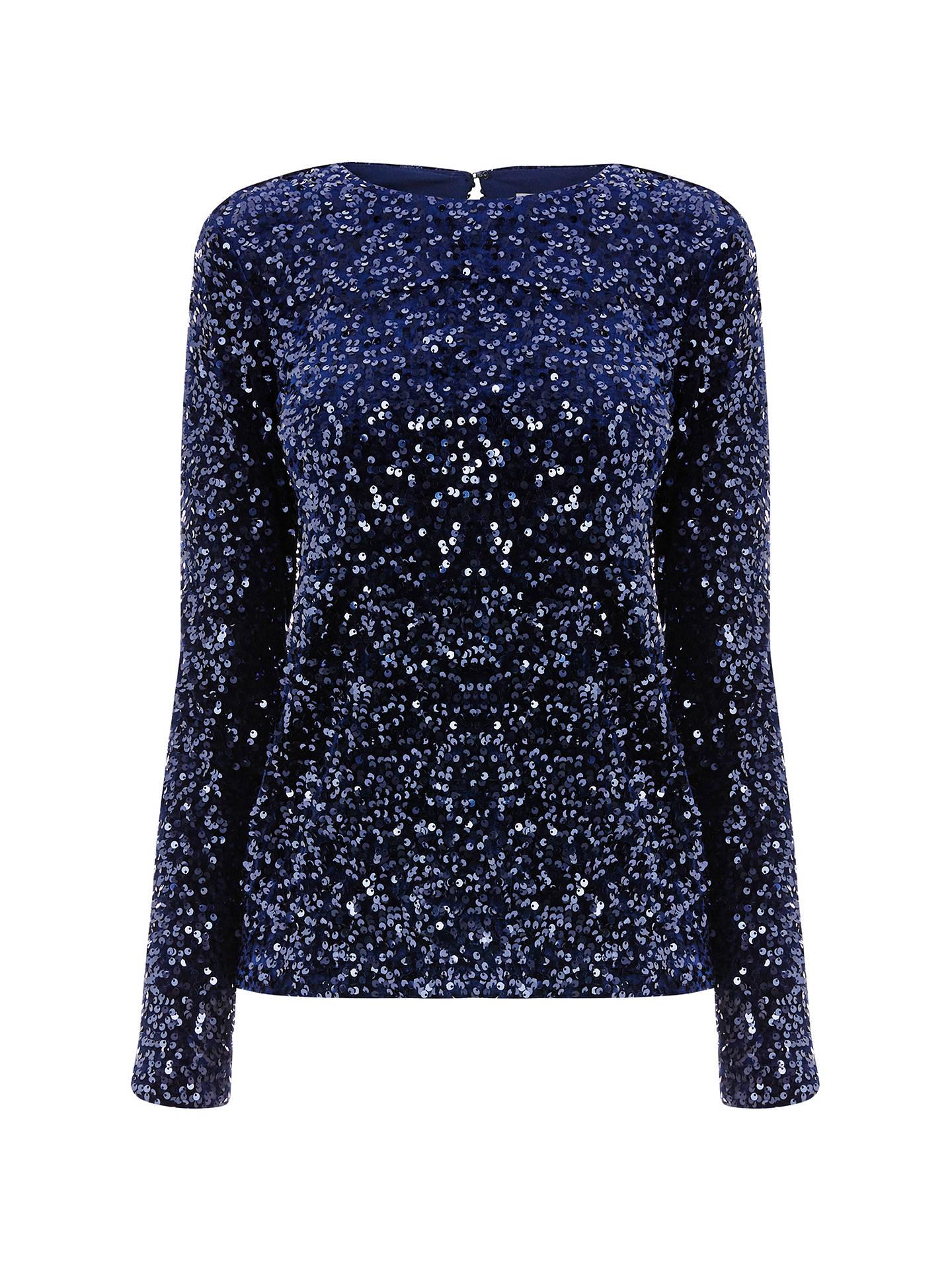 643e094c405c63 ... Buy Warehouse Sequin Velvet Long Sleeve Top