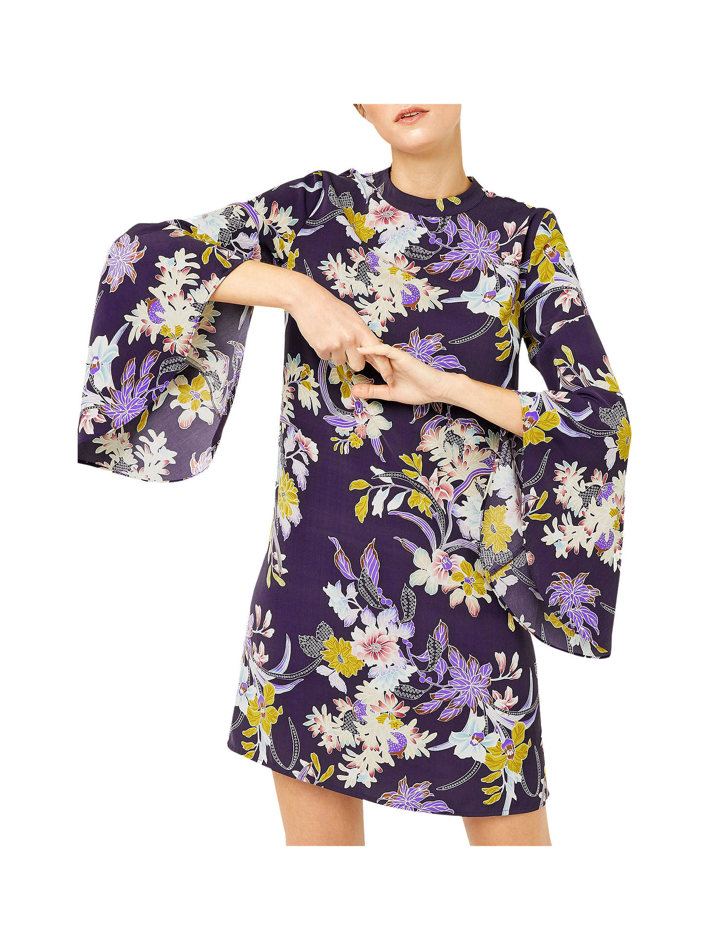 BuyWarehouse Orchid Flared Cuff Dress, Purple Pattern, 6 Online at johnlewis.com