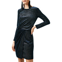 Buy Warehouse Glitter Velvet Drape Dress, Navy Online at johnlewis.com