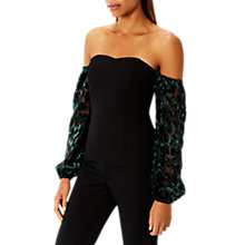 Buy Coast Marissa Burnout Bardot Top, Black/Multi Online at johnlewis.com