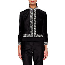 Buy Ted Baker Zair Velvet Embroidered Cropped Jacket, Black Online at johnlewis.com