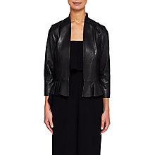 Buy Ted Baker Febbe Frill Detail Leather Jacket, Black Online at johnlewis.com