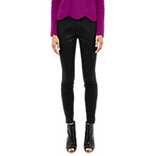 Buy Ted Baker Aissats Waxed Ankle Zip Skinny Jeans, Black Online at johnlewis.com