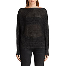 Buy AllSaints Elle Metallic Jumper, Black Online at johnlewis.com
