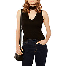 Buy Karen Millen Ponte Choker Neck Top, Black Online at johnlewis.com
