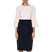 Buy Ted Baker Limila Tulip Sleeve Shift Dress, Black/Blush Online at johnlewis.com