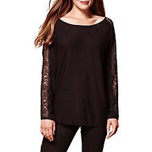 Buy Yumi Lace Panel Sleeve Jumper, Black Online at johnlewis.com