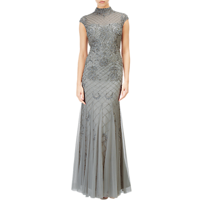 Adrianna Papell Beaded Long Dress, Blue Mist