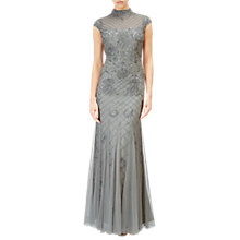 Buy Adrianna Papell Beaded Long Dress, Blue Mist Online at johnlewis.com