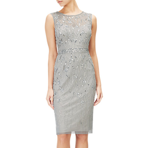 Buy Adrianna Papell Short Beaded Dress, Blue Heather/Silver Online at johnlewis.com