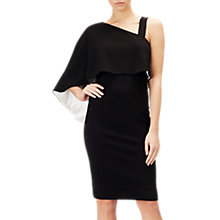 Buy Adrianna Papell One Shoulder Crepe Dress, Black/Ivory Online at johnlewis.com