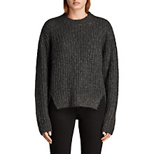 Buy AllSaints Klash Cropped Crew Neck Jumper, Cinder Black Marl Online at johnlewis.com