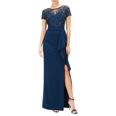 Adrianna Papell Beaded Gown, Deep Blue