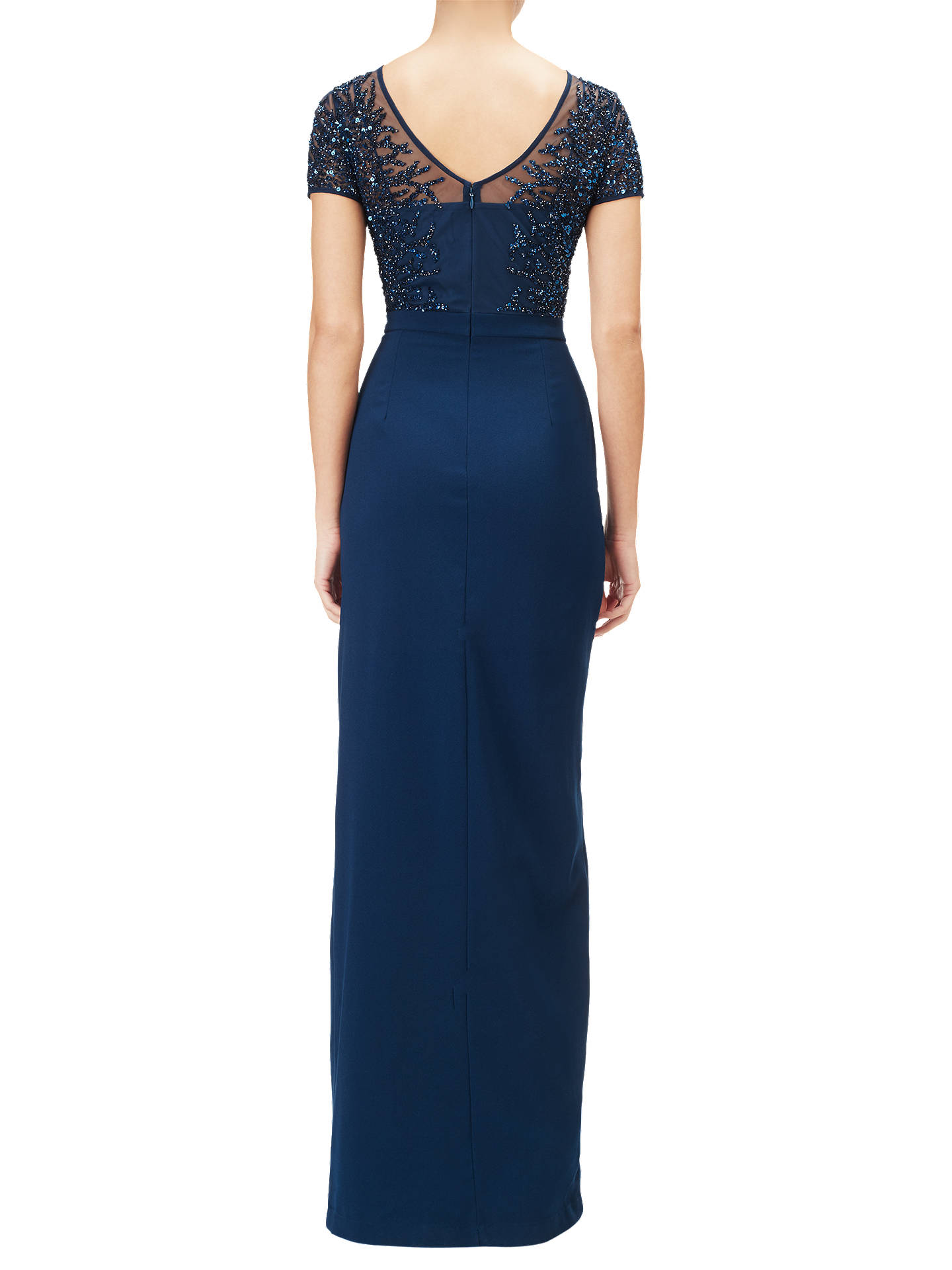Adrianna Papell Beaded Gown, Deep Blue at John Lewis & Partners