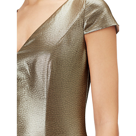 Buy Adrianna Papell Long Jacquard Dress, Gold Online at johnlewis.com