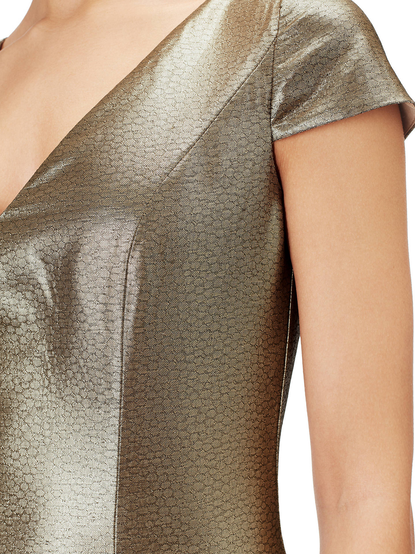 BuyAdrianna Papell Long Jacquard Dress, Gold, 8 Online at johnlewis.com