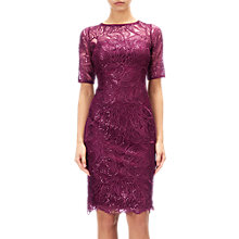 Buy Adrianna Papell Lace Sequin Illusion Neckline Dress, Cabernet Online at johnlewis.com
