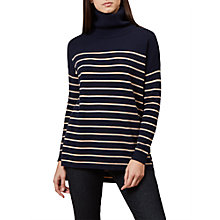 Buy Hobbs Melanie Roll Neck Stripe Jumper, Navy/Camel Online at johnlewis.com